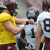Minnesota Gophers Mitch Leidner calls a play during the Minnesota Gopher Football scrimmage at TCF Stadium in Minneapolis on August 9, 2014.   (Pioneer Press: Sherri LaRose-Chiglo)