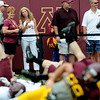 Fans watch from the sidelines during the Minnesota Gopher Football scrimmage at TCF Stadium in Minneapolis on August 9, 2014.   (Pioneer Press: Sherri LaRose-Chiglo)