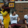Minnesota Gophers linebacker Damien Wilson during the Minnesota Gopher Football scrimmage at TCF Stadium in Minneapolis on August 9, 2014.   (Pioneer Press: Sherri LaRose-Chiglo)