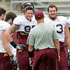 Minnesota Gophers Tight End Coach Rob Reeves talks with players Maxx Williams, top left,  and Drew Goodger, top right, during the Minnesota Gopher Football scrimmage at TCF Stadium in Minneapolis on August 9, 2014.   (Pioneer Press: Sherri LaRose-Chiglo)