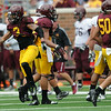 Minnesota Gophers DB Derrick Wells celebrates his interception during the Minnesota Gopher Football scrimmage at TCF Stadium in Minneapolis on August 9, 2014.   (Pioneer Press: Sherri LaRose-Chiglo)
