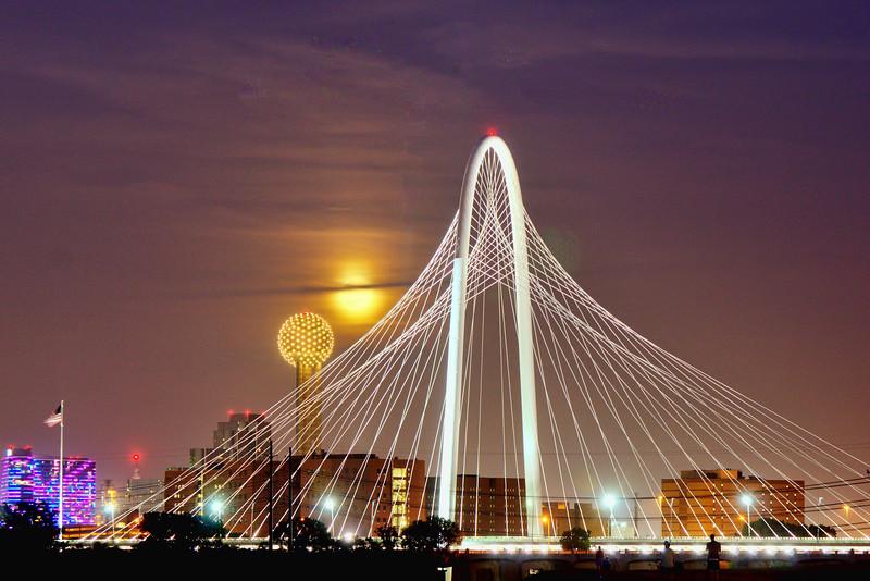 Super moon rising over downtown Dallas