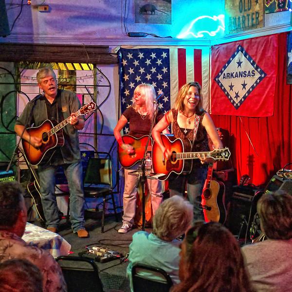 Terri Hendrix and Lloyd Maines, with Marina Rocks sitting in