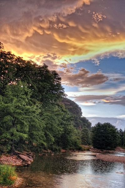 Sunset rainshower on the Frio River, Concan, TX