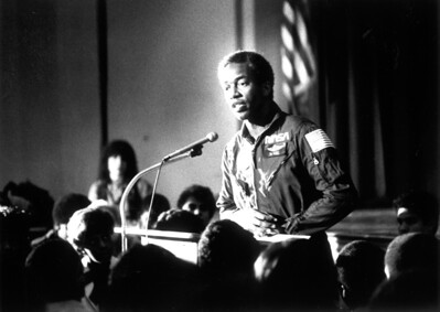 Lt. Colonel Guion Bluford, crew member of the Space Shuttle Challenger spoke at George Washington Preparatory High School in early 1980s.  L.A. Daily News file photo