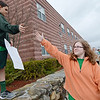 Ellie Paine (right) high fives Brady Aubuchon during the walk for peace to raise money for the peace garden in Boston. The walk was held on Friday afternoon as part of Overlook Middle School's  'Kindness Week.' SENTINEL & ENTERPRISE / Ashley Green