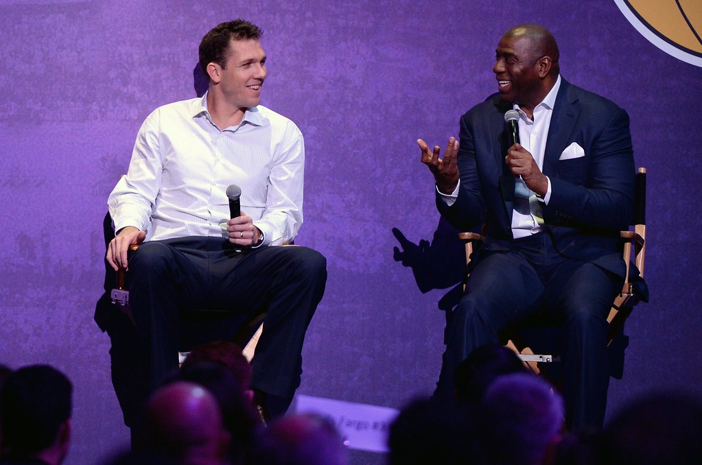 . Head Coach of the Los Angeles Lakers Luke Walton, left, and Magic Johnson, Lakers President of Basketball Operations,  during The Los Angeles Sports & Entertainment Commission (LASEC) 13th annual LAKERS ALL-ACCESS, at the Staples Center.   Los Angeles  Calif., Monday, February ,27, 2017.            ( Photo by Stephen Carr / Daily News / SCNG )