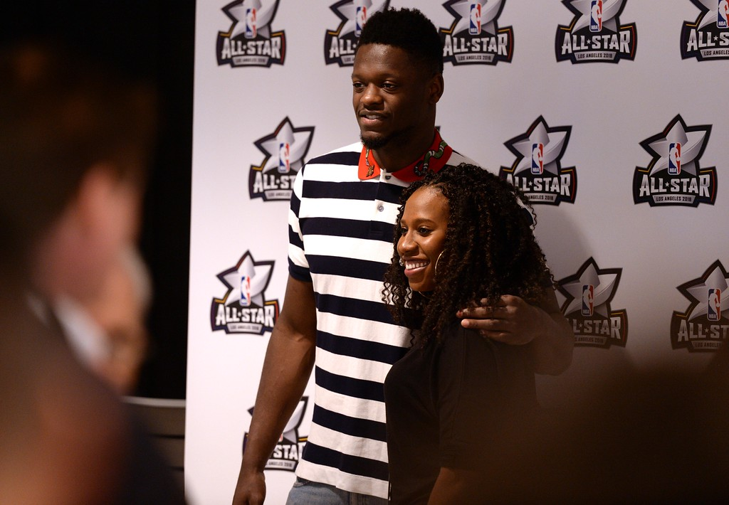 . Los Angeles Laker Julius Randle poses for a photo with Laker fan, Brittany Fegan of Glendale Calif., during The Los Angeles Sports & Entertainment Commission (LASEC) 13th annual LAKERS ALL-ACCESS, at the Staples Center.   Los Angeles  Calif., Monday, February ,27, 2017.            ( Photo by Stephen Carr / Daily News / SCNG )