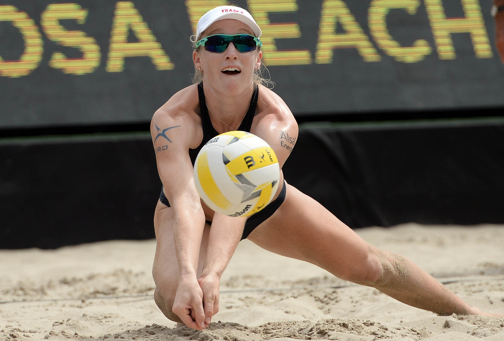 . Emily Day against Angela Bensend and Geena Urango,  during the AVP Hermosa Beach Women\'s Championship match, at Hermosa Beach. Emily Day and her partner Brittany Hochevar won 21-17, 21-13.     Hermosa Beach, Sunday, July 23, 2017.            ( Photo by Stephen Carr /  Daily Breeze / SCNG )