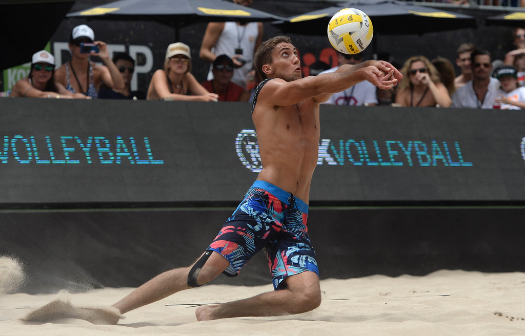 . Trevor Crabb during the AVP Hermosa Beach Men\'s Championship match, at Hermosa Beach. Trevor\'s brother Taylor Crabb and his partner Jake Gibb won 21-16,17-21,15-11, over he and his partner Sean Rosenthal.    Hermosa Beach, Sunday, July 23, 2017.            ( Photo by Stephen Carr /  Daily Breeze / SCNG )