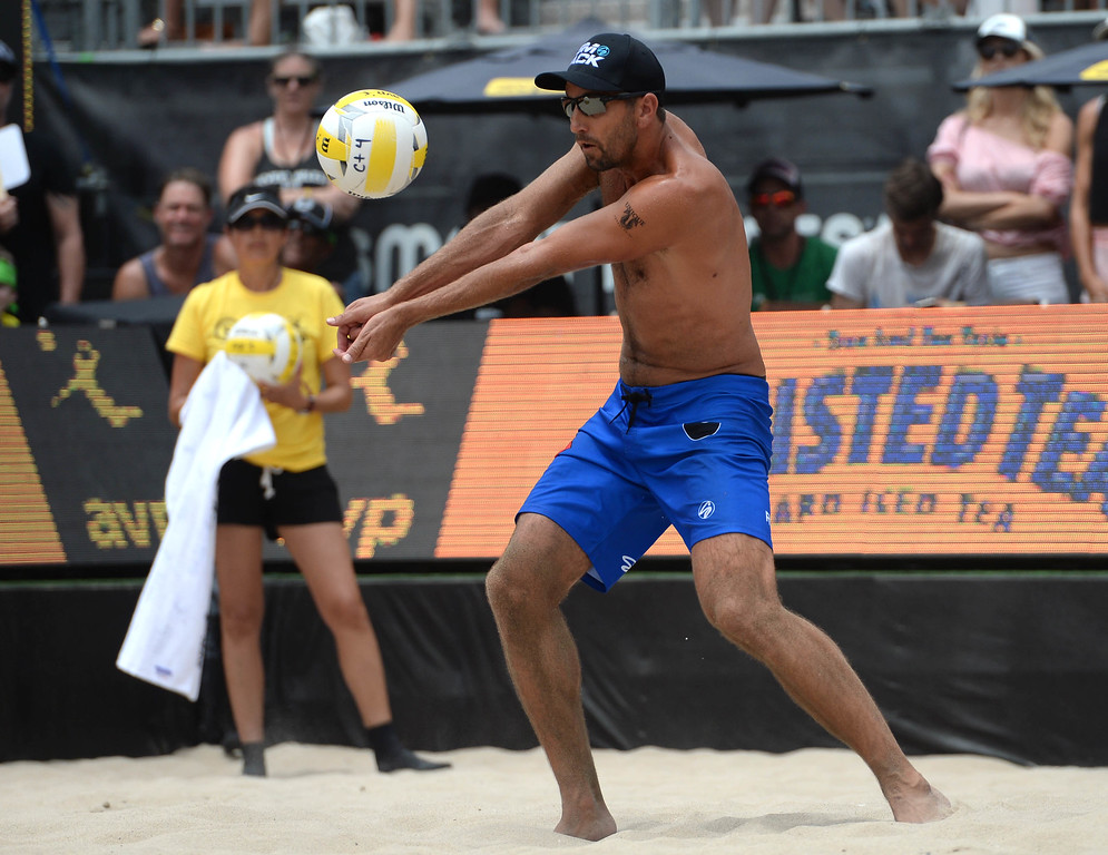 . Sean Rosenthal,  during the AVP Hermosa Beach Men\'s Championship match, at Hermosa Beach. Trevor\'s brother Taylor Crabb and his partner Jake Gibb won 21-16,17-21,15-11, over Rosenthal and his partner Trevor Crabb.    Hermosa Beach, Sunday, July 23, 2017.            ( Photo by Stephen Carr /  Daily Breeze / SCNG )