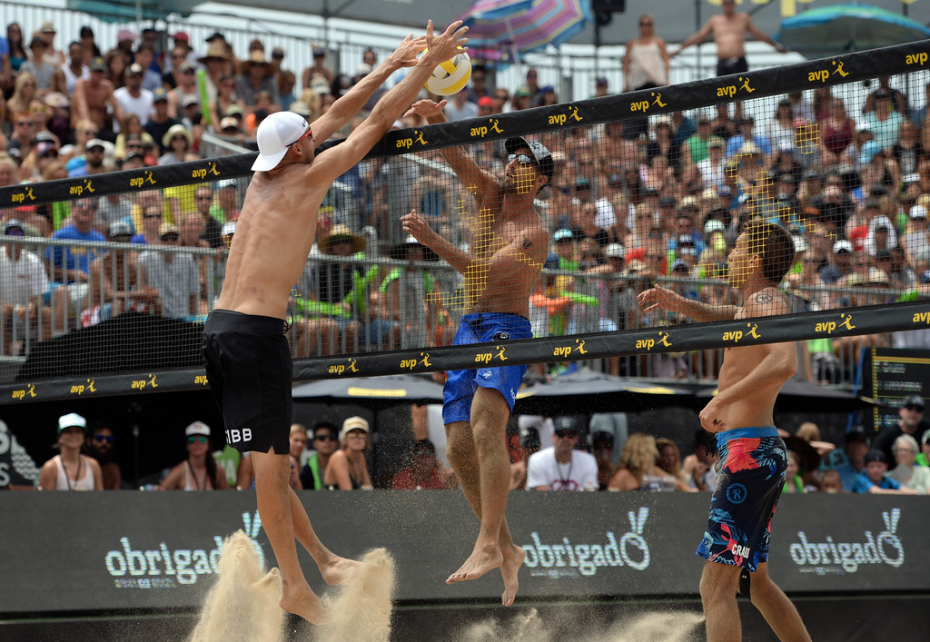 . Trevor Crabb and partner Sean Rosenthal,  during the AVP Hermosa Beach Men\'s Championship match, at Hermosa Beach. Trevor\'s brother Taylor Crabb and his partner Jake Gibb won 21-16,17-21,15-11.   Hermosa Beach, Sunday, July 23, 2017.            ( Photo by Stephen Carr /  Daily Breeze / SCNG )