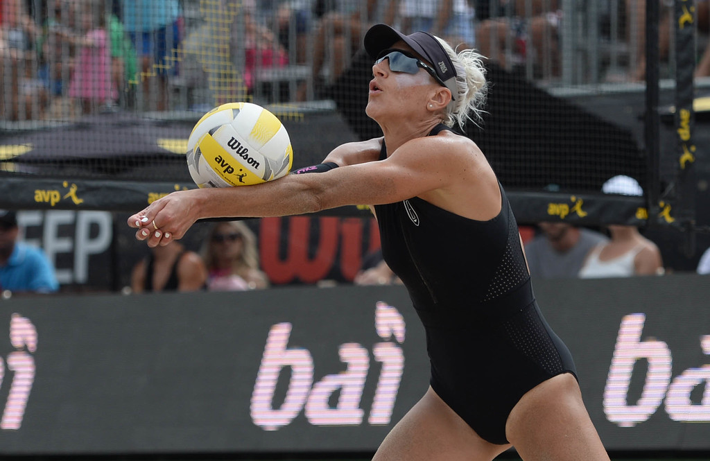 . Brittany Hochevar during the AVP Hermosa Beach Women\'s Championship match, at Hermosa Beach. Brittany Hochevar and her partner Emily Day won 21-17,21-13 over Angela Bensend and her partner Geena Urango.    Hermosa Beach, Sunday, July 23, 2017.            ( Photo by Stephen Carr /  Daily Breeze / SCNG )