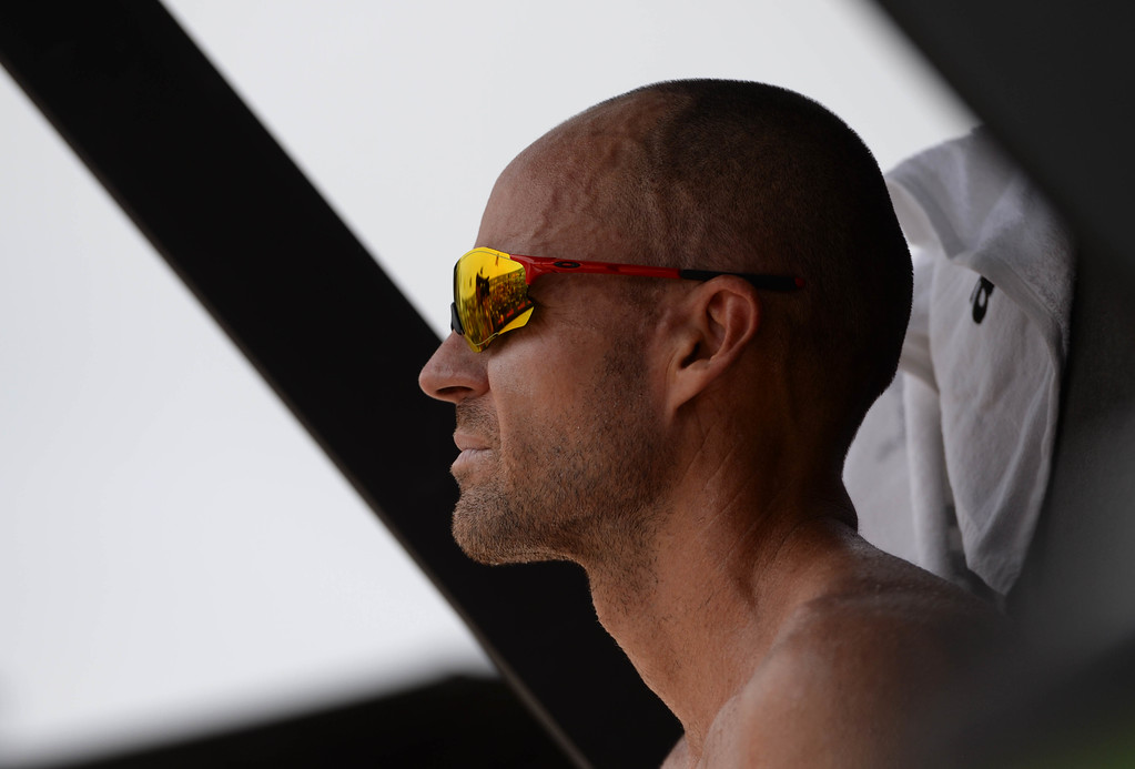 . Jake Gibb during the AVP Hermosa Beach Men\'s Championship match, at Hermosa Beach. Jake Gibb and Taylor Crabb won 21-16,17-21,15-11, over Taylor\'s brother Trevor Crabb and his partner Sean Rosenthal.    Hermosa Beach, Sunday, July 23, 2017.            ( Photo by Stephen Carr /  Daily Breeze / SCNG )