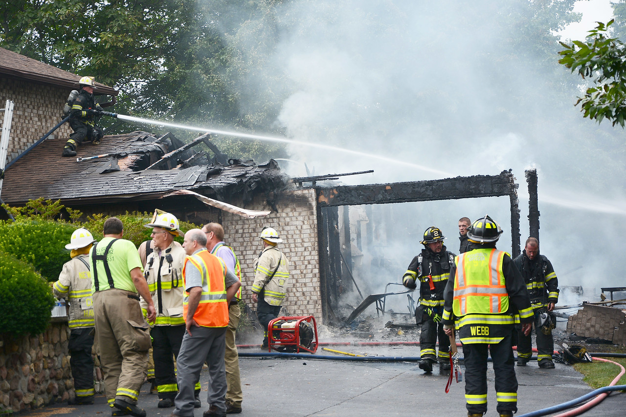 [Jack Haley/Messenger Post Media]<br /> Port Gibson and Clifton Springs were disptched for a possible garage fire on Short Road in Port Gibson. An engine was called from Newark and Phelps also was called in. A good stop kept the fire from spreading to the house.