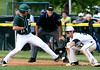 Bob Raines--Montgomery Media / Pennridge's Mitch McLeod steps back onto the bag to beat the throw to West Chester Rustin first baseman Charlie Concannon May 18, 2015.