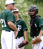 Bob Raines--Montgomery Media<br /> Pennridge coach Tom Nuneviller makes decides to leave pitcher Andrew Mayhew on the mound during the May 18, 2015 playoff game at West Chester Rustin.