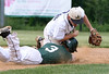 Bob Raines--Montgomery Media / Pennridge runner Joe Molettiere  slides back to second throwing West Chester Rustin shortstop off balance on a pickoff try by catcher Vaughn Chambers May 18, 2015.