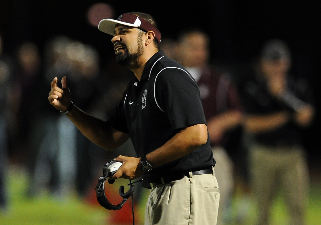 . Rosemead head coach Marc Paramo in the first half of a prep football game against South Torrance at Rosemead High School in Rosemead, Calif. on Thursday, Sept. 12, 2013.   (Photo by Keith Birmingham/Pasadena Star-News)
