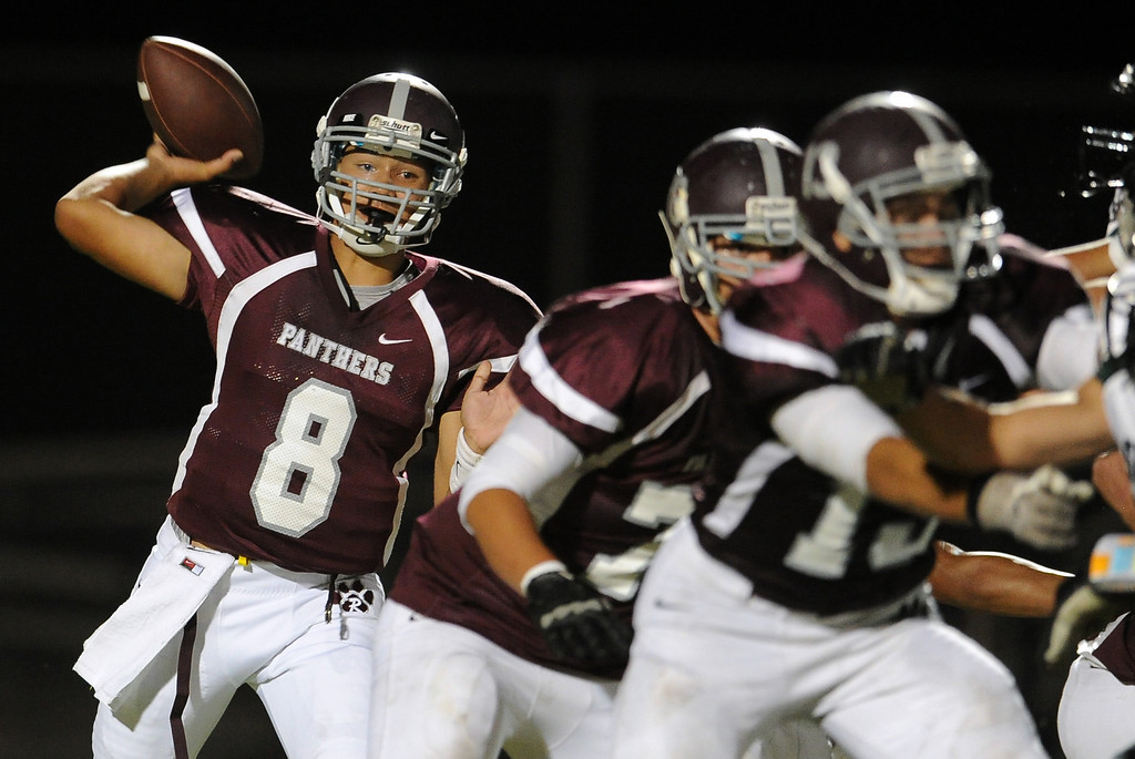 . Rosemead quarterback Isaia Ah-hing (8) passes against South Torrance in the first half of a prep football game at Rosemead High School in Rosemead, Calif. on Thursday, Sept. 12, 2013.   (Photo by Keith Birmingham/Pasadena Star-News)