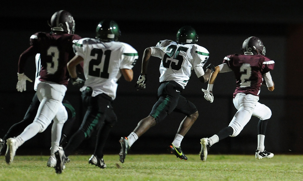 . Rosemead\'s Oscar Noriega (2) runs for a touchdown against South Torrance in the first half of a prep football game at Rosemead High School in Rosemead, Calif. on Thursday, Sept. 12, 2013.   (Photo by Keith Birmingham/Pasadena Star-News)