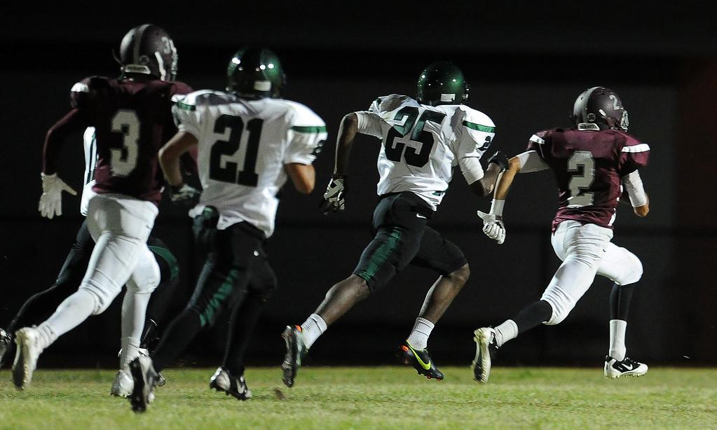 . Rosemead\'s Oscar Noriega (2) runs for a touchdown against South Torrance in the first half of a prep football game at Rosemead High School in Rosemead, Calif. on Thursday, Sept. 12, 2013.   (Photo by Keith Birmingham/Pasadena Star-News)