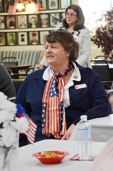 Blue Star Mother Debra Phillips listens to Secretary of Veterans Affairs Francisco Urena speaks at the Leominster Veteran's Center on Wednesday afternoon. SENTINEL & ENTERPRISE / Ashley Green