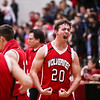 Ken Kadwell/@KenKadwell - Special to the Sun<br /> Vestaburg's Kristian Gostomski (20) celebrates shortly after the buzzer in a victory over Sacred Heart Friday, Feb. 27, 2015.  Final 53-48 Vestaburg.