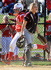 Bob Raines--Montgomery Media / Souderton's Missy Wiley scores the second of two rbis on Savannah Bostwick's base hit.