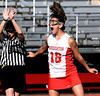 Souderton's Rachel Judge lets out a scream of triumph as the clock runs out on the Indian's District 1 second-round win over Downingtown West on Thursday, May 14, 2015. (Bob Raines/Montgomery Media)
