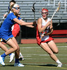 Bob Raines--Montgomery Media / Souderton's Amber Lambeth makes a cut for the goal past Downingtown West's Heather Camden May 14, 2015.