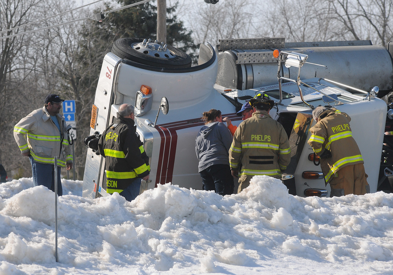 [Jack Haley/Messenger Post Media]<br /> Phelps FD along with Clifton Springs responded for a tractor trailer on it's side at the intersection of routes 488 and 96.