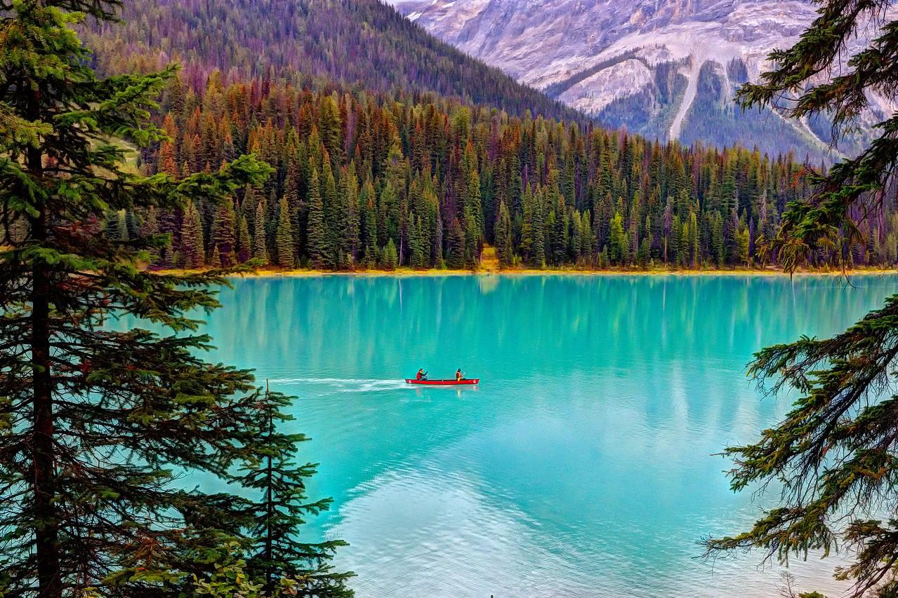 Canoeists on Emerald Lake