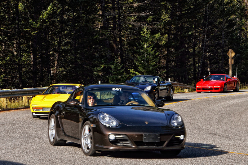 Sports car club heading up the mountain