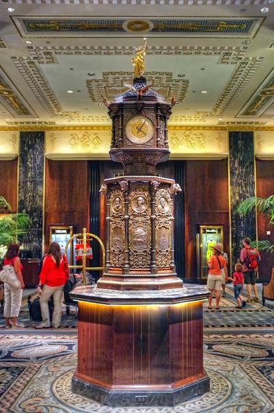 Clock in the Waldorf Astoria lobby
