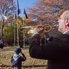 Lunenburg Public Schools, Steve Archambeault, played Taps on Tuesday morning during the Veterans Memorial Ceremony in Lunenburg. SENTINEL & ENTERPRISE / KYLE DAUDELIN