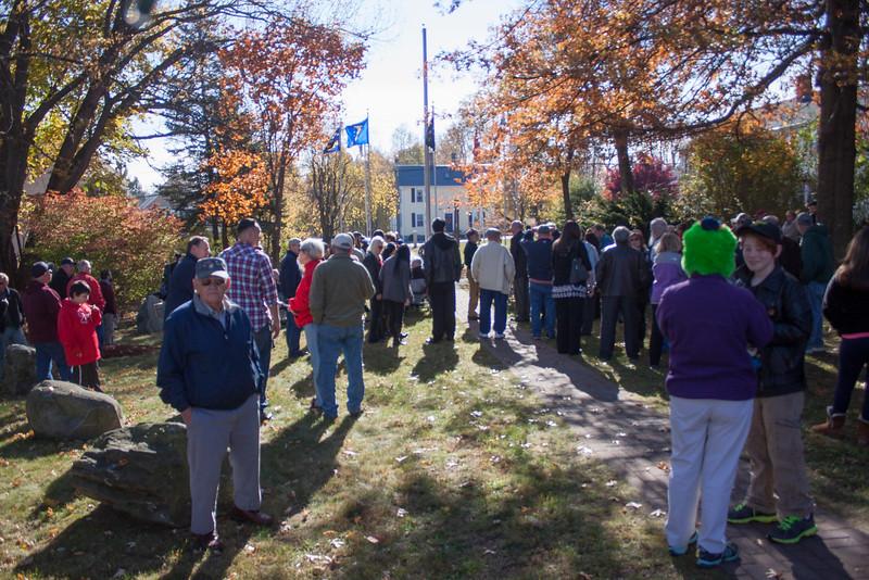 Residents of Lunenburg and families gathered at Veterans Memorial Park in Lunenburg Tuesday morning for a Veterans Memorial ceremony. SENTINEL & ENTERPRISE / KYLE DAUDELIN
