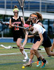 Bob Raines--Montgomery Media / <br /> Wissahickon's Amanda Mitchell and Hatboro Horsham's Kaitlyn Wallace fight for a loose ball May 4, 2015.
