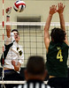 Bob Raines--Montgomery Media / Archbishop Wood's Brian Pietkarski tries to spike the ball past Lansdale Catholic's Matt Mussoline Friday, May 15, 2015 during the PCL Volleyball Championship at Cairn University.