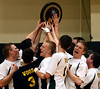 Archbishop Wood celebrates after winning the Philadelphia Catholic League boys volleyball championship  with a 3-0 victory over Lansdale Catholic on Friday, May 15, 2015. (Bob Raines/Montgomery Media)