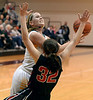 Bob Raines--Montgomery Media<br /> Archbishop Wood's Aubree Brown collides with Archbishop Ryan's Ashley Smink Thursday, Feb 19, 2015 at Philadelphia University.