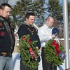 (left-right) Veterans Bryan Clayton of Winchendon, Frank McKinnon of Royalston and Richard Martinelli II of Winchendon bow their heads during the Wreaths Across America Ceremony at the Massachusetts Veteran's Memorial Cemetery in Winchendon SENTINEL&ENTERPRISE/ Jim Marabello
