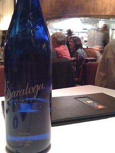 Saratoga water served @ MESA Grill