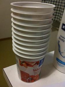 Yogurts, cups.