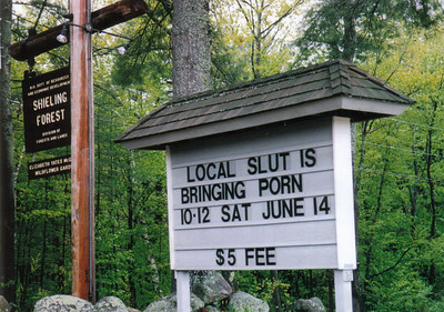 This was a real sign in my home town!  I was driving to the dump early one saturday morning and saw this.  Whoever did this, took every letter and number and rearranged.  It was suppose to advertise a Lilac Pruning class and you were to bring tools.