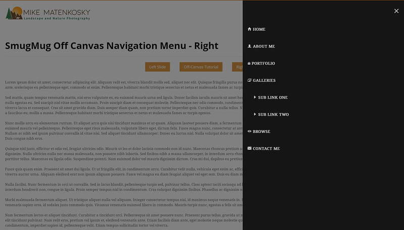 SmugMug Off Canvas Navigation Menu