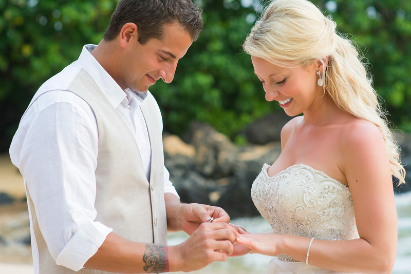 Maui Wedding Elopement shows the love in this couples expression as they exchange rings