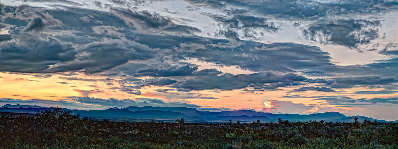 West Texas panoramic sunset, near Marathon, TX