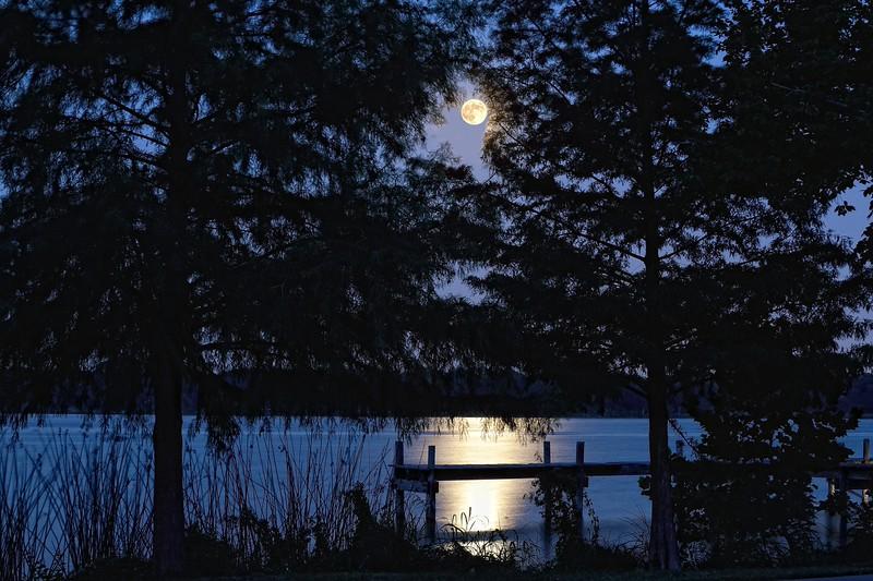 Full moon over White Rock Lake