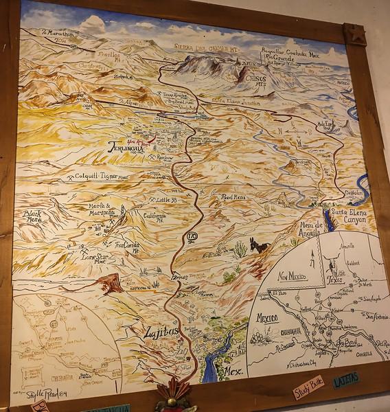 Big Bend region wall map